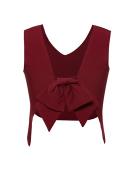 Ericdress Plain Solid Color Bowknot Women's Tank Top