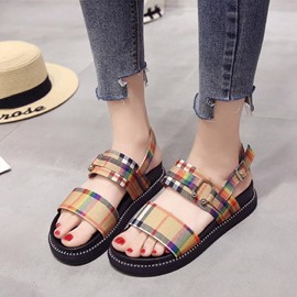 Ericdress Cloth Plaid Buckle Platform Strappy Flat Sandals