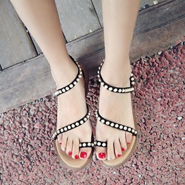Ericdress Beads Slip-On Toe Ring Ankle Strap Flat Sandals