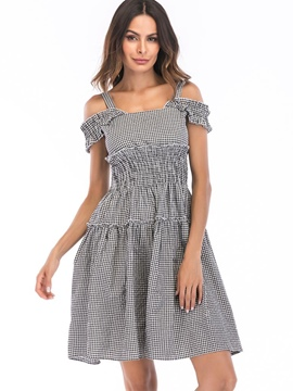 Ericdress Gingham High-Waist Above Knee A-Line Dress