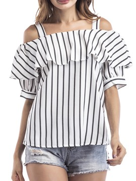 Ericdress Women's Stripe Slash Neck Short Sleeve Blouse