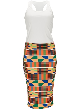 Ericdress Patchwork Print Scoop Bodycon Dress