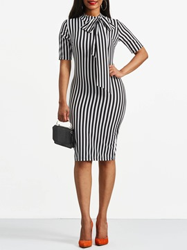 Ericdress Bowknot Bow Collar Stripe Bodycon Dress