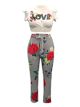 Ericdress Print Pants and T-Shirt Women's Two Piece Set