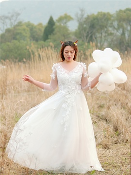 Ericdress Tulle Plus Size Wedding Dress
