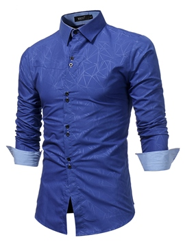 Ericdress Printed Lapel Slim Plain Mens Business Shirts