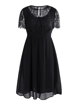 Ericdress Hollow Patchwork Lace A-Line Dress