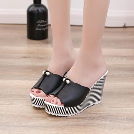 Ericdress Beads Platform Flip Flop Wedge Heel Mules Shoes