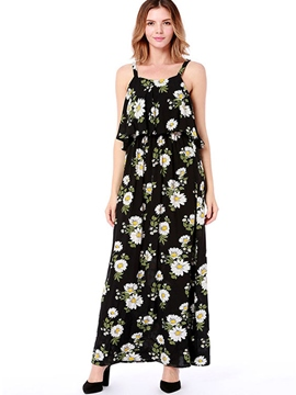 Ericdress Floral Ankle-Length Sleeveless Pullover A-Line Dress
