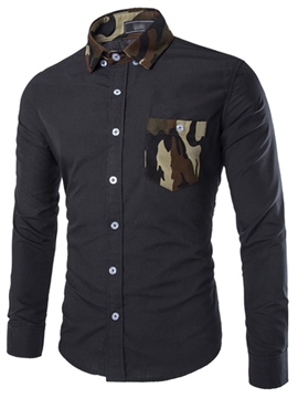 Ericdress Camouflage Patchwork Slim Lapel Mens Plain Shirts