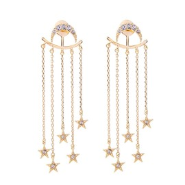 Ericdress Moon& Star Shining Drop Earring