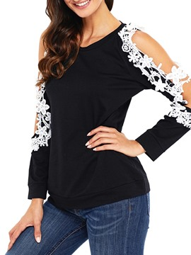 Ericdress Women's Off Shoulder Patchwork Tee Shirt
