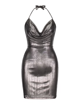 Ericdress Silver Backless Halter Plain Bodycon Dress