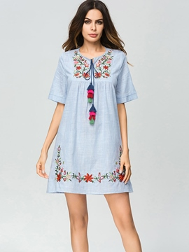 Ericdress Floral Fringe Embroidery A-Line Dress
