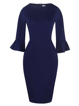 Ericdress Flare Sleeve Zipper Pullover Bodycon Dress