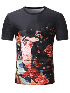 Ericdress Japanese Floral Printed Slim Men's Black T Shirt