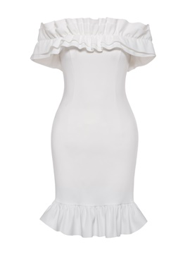 Ericdress White Slash Neck Ruffles Bodycon Dress