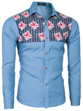 Ericdress Printed Patchwork Slim Men's Casual Shirts