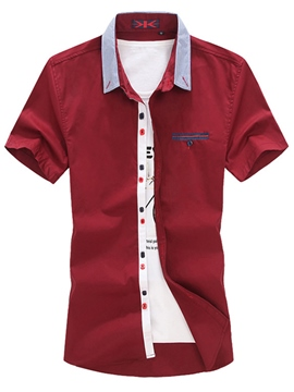 Ericdress Plain Plus Size Mens Short Sleeve Shirts