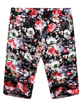 Men's Clothing Bottoms Red Floral Printed Lace Up Shorts