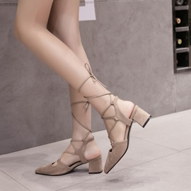 Ericdress Strappy Lace-Up High-Cut Upper Chunky Sandals