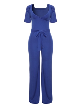 Ericdress Belt Plain Wide Leg Women's Jumpsuit