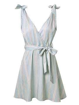 Ericdress Blue Tie Front V-Neck Stripe A-Line Dress