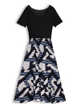 Ericdress Fashion Geometric Color Block A-Line Dress