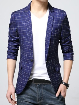 Ericdress Notched Lapel Plaid Plus Size Mens Blazer