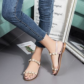 Ericdress Beads Ankle Strap Block Heel Flat Sandals