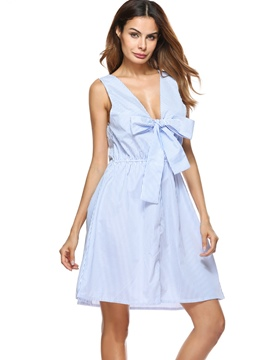 Ericdress Knot Front V-Neck Bow Stripe A-Line Dress
