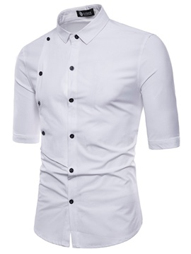 Ericdress Plain Button Half Sleeve Slim Mens Shirts