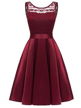 Ericdress Trumpet Patchwork Lace A-Line Dress