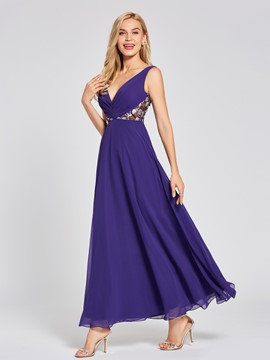 Ericdress V Neck Embroidery A Line Evening Dress