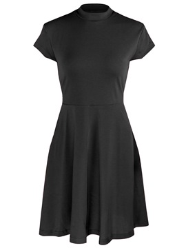 Ericdress Stand Collar Above Knee Pullover A-Line Dress
