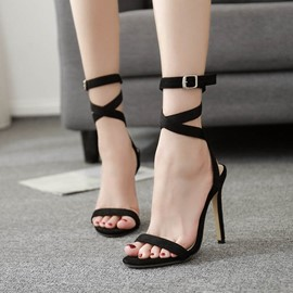 Ericdress Buckle Ankle Strap Open Toe Stiletto Sandals