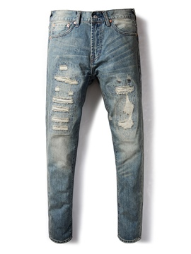 Ericdress Blue Worn Skinny Men's Ripped Jeans