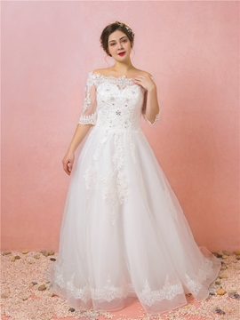 Ericdress Off the Shoulder Plus Size Wedding Dress with Sleeves