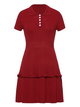Ericdress Red Polo Neck Single-Breasted Sheath Dress