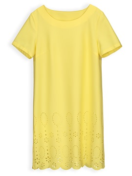 Ericdress Yellow Hollow Pullover Simple A-Line Dress