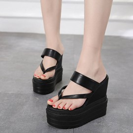 Ericdress Platform Slip-On Thong Wedge Heel Mules Shoes