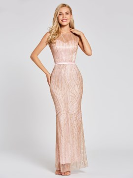 Ericdress Scoop Neck Backless Gilding Mermaid Evening Dress