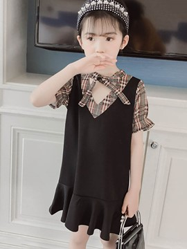 Ericdress Plaid Color Block Mermaid Girl's Short Sleeve Dress
