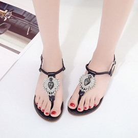 Ericdress Bohemian Rhinestone Strappy Thong Flat Sandals