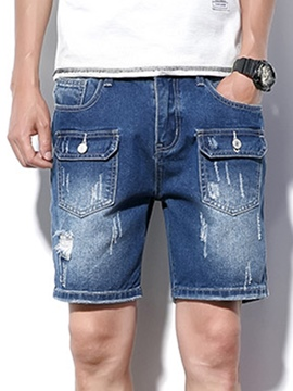 Ericdress Plain Pocket Designed Mens Plus Size Denim Shorts