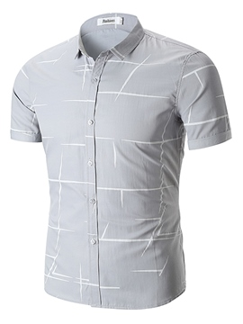 Men's Clothing Tops Stripe Printed Slim Fit Short Sleeve Shirt
