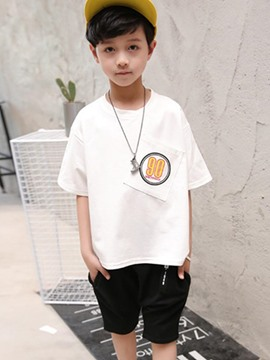 Ericdress Number Printed T Shirt Plain Shorts Boy's Outfits