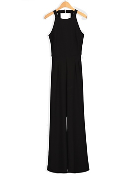 Ericdress Slim Wide Leg Backless Women's Jumpsuit