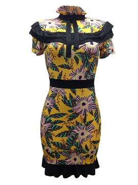 Ericdress Yellow Bowknot Mori Zipper Print Bodycon Dress