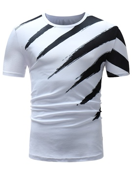 Men's Clothing Tops White Stripe Printed Loose T Shirt